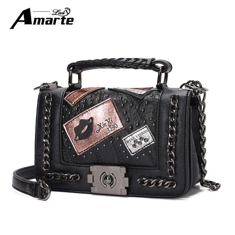 Amarte Women Handbag 2017 Luxury Design Rivet Leather Handbags High Quality Shoulder Bag Women Small Crossbody Bags Bolso Mujer genuine leather studded satchel bag women s 2016 saffiano cute small metal rivet trapeze shoulder crossbody bag handbag