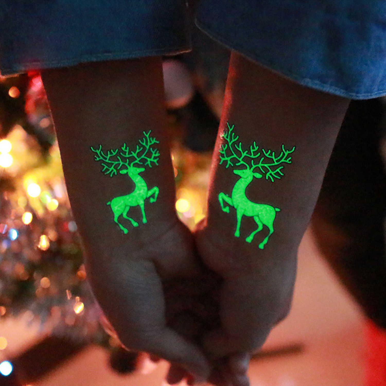 1 hoja divertido feliz de Navidad, de carnaval, de fiesta luminoso que brillan en la oscuridad tatuaje temporal pegatinas juguetes para niños adultos