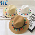 2016 Colorful Style Tassel Balls Fold Sun Hats Women Cute&Casual Style Solid Pattern Type Beach Caps Ladies sombreros hat Girl