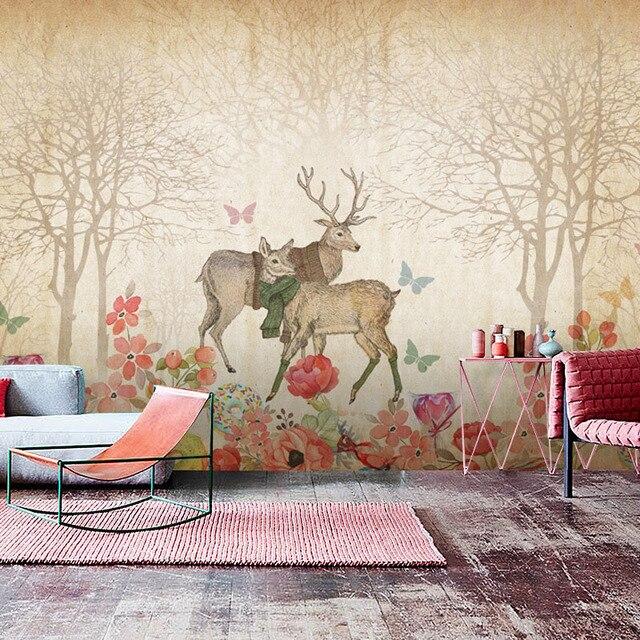 Superieur Tuya Art Wallpaper Vintage Elk With Flowers Art Design Mural For Living Room  And Desktop Wallpapers
