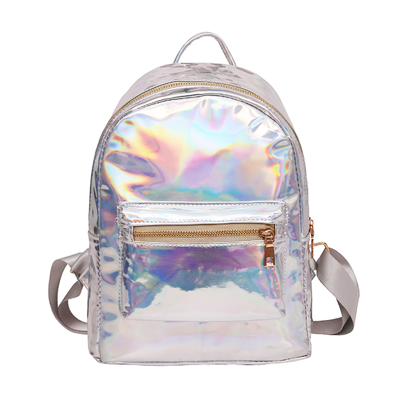 Small Hologram Backpack Laser Holographic Bag Mochila Feminino Silver Multicolor Primary School Leather Daypack Zaino Olografico