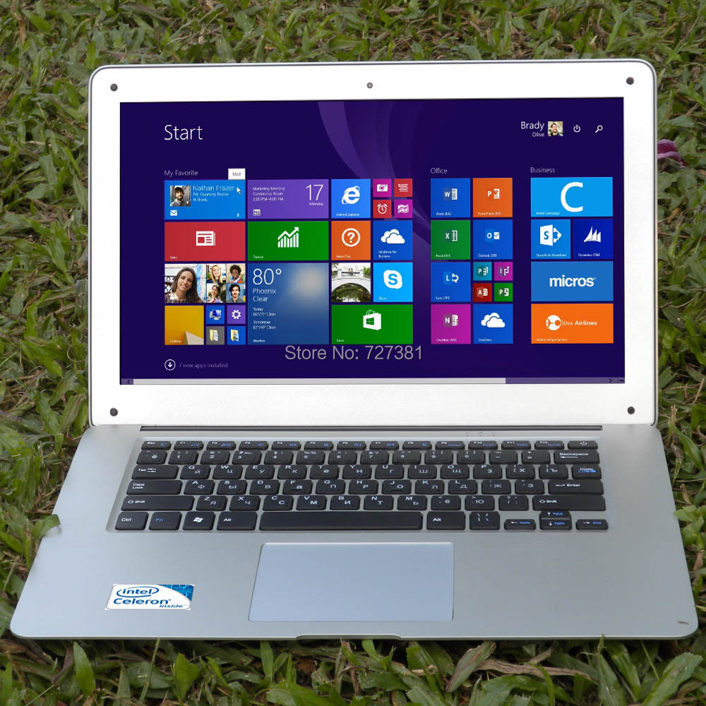 14 inch ultrabook slim laptop computer cpu Intel J1900 4Cores 8GB RAM 128GB SSD Windows  ...