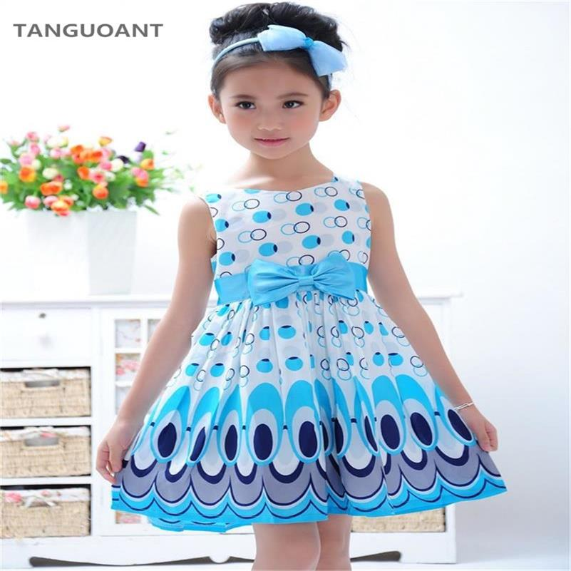 TANGUOANT Girl dress, Princess Bow Belt dress Circle Bubble Peacock print kids clothes, girl's Party dresses 2-11Y free shipping vintage bow waist bubble dress