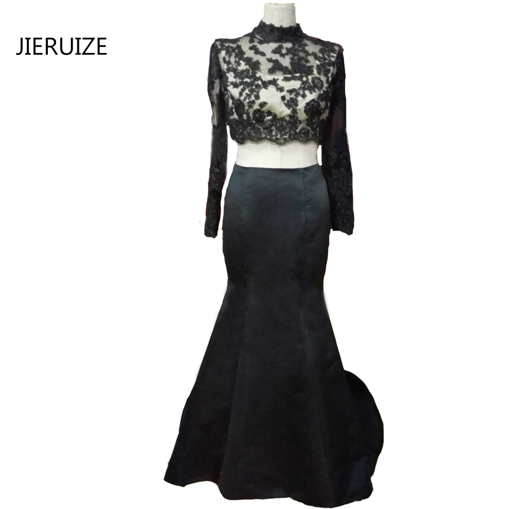 JIERUIZE Black Two Piece Prom Dresses High Neck Mermaid Prom Dresses ...
