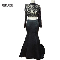 Black Two Piece Prom Dresses 2017 High Neck Mermaid Prom Dresses Sexy Backless Party Dresses Abendkleider