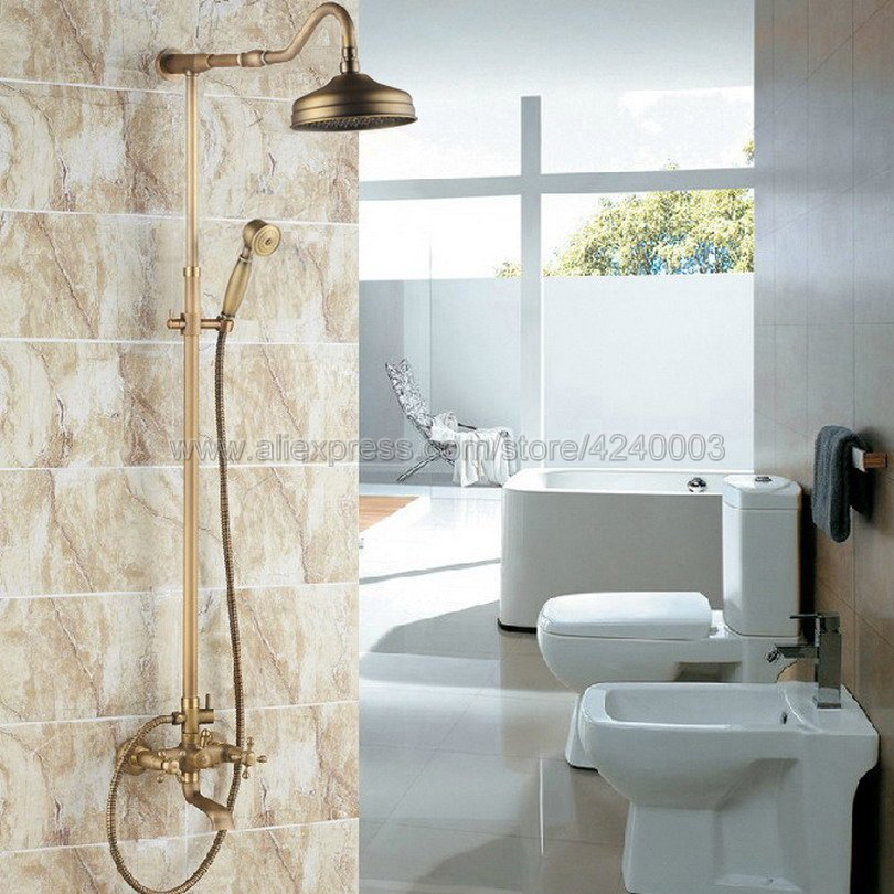 Antique Brass 8 inch Shower Head Bathroom Shower Faucet Sets Double Handles Tub Mixer Tap with Hand Shower Krs103