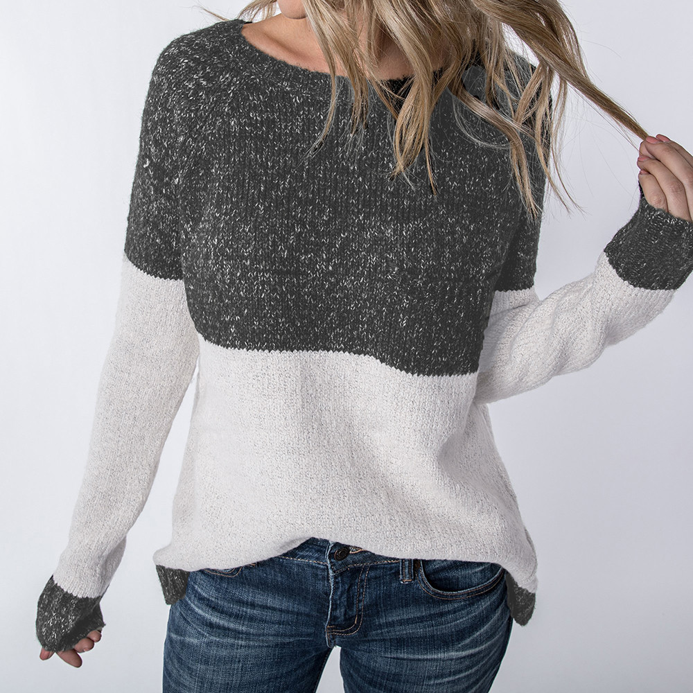 Women Sweater Calsual Sueter Mujer Tallas Grandes Long Sleeve Color Collision Knitting Sweater Winter Clothes Women 2018
