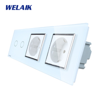 WELAIK 3 Frame Crystal Glass Panel White Black Wall Switch EU Touch Switch Wall Socket 2gang1way