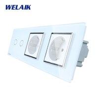 WELAIK 3 Frame Crystal Glass Panel White Black Wall Switch EU Touch Switch Wall Socket 2gang1way