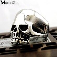 Moorvan, Прямая поставка, крутые кольца из нержавеющей стали для мужчин, трендовые гладкие полирующие большой череп, кольцо для панков, байкерские ювелирные изделия VR312