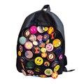 Mochila de Nylon Preto Emoji Crachá Mochila Mulheres Mochilas Mujer 2016 Preppy Escola Bags Backpack Para Meninas Adolescente Saco um Dos Femme