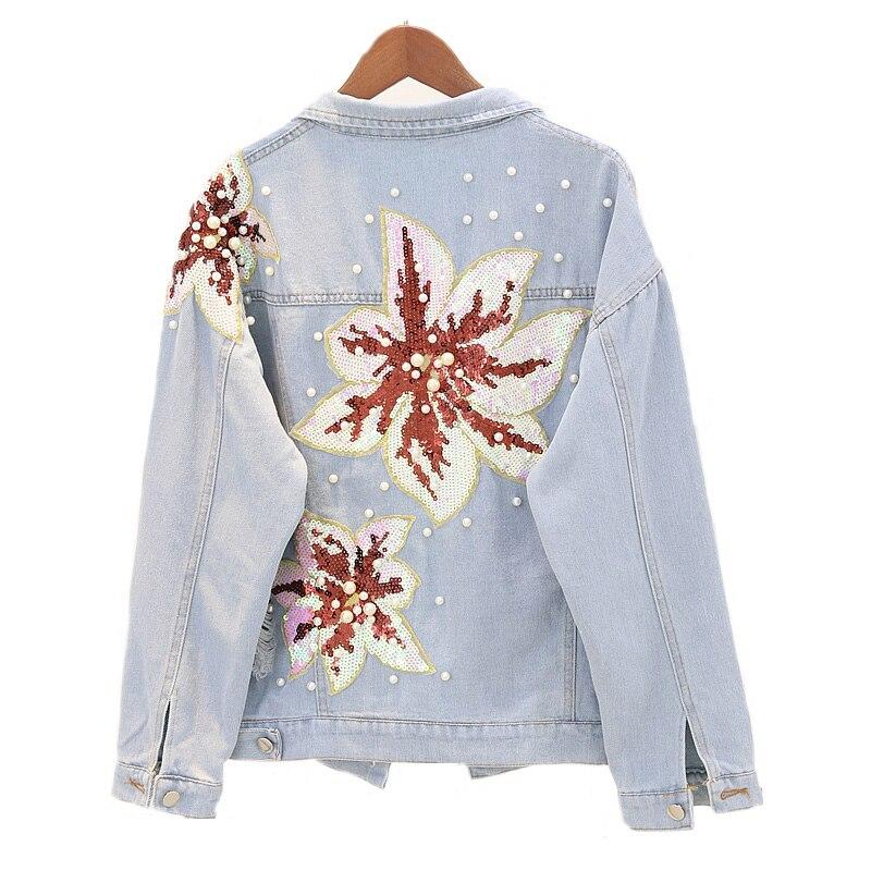Printemps automne hiver perles Jean manteau perles femme manteau lâche Streetwear à manches longues veste Patch Design perles Denim veste