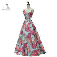 LOVONEY Real Photo Elegant A Line Sleeveless Satin Long Evening Dress 2017 Hot Sale Lace Up