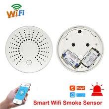 Inteligentny Wifi dymu pożarowego czujnik temperatury bezprzewodowa czujka dymu czujnik temperatury automatyki system alarmowy do domu inteligentne życie