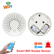 חכם Wifi אש עשן טמפרטורת חיישן אלחוטי עשן גלאי טמפרטורת אוטומציה אבטחת בית אזעקה מערכת חכם חיים