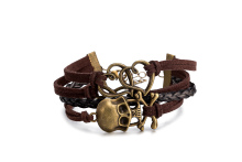2017 Newest Original Antique Silver Plated Skull Brown Cuff Bracelet For Unisex Girl Multi Layer Hand Woven Leather Bracelet