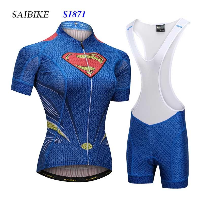 Super herói super-homem conjunto de camisas ciclismo roupas femininas manga curta mtb bicicleta bandana ropa maillot