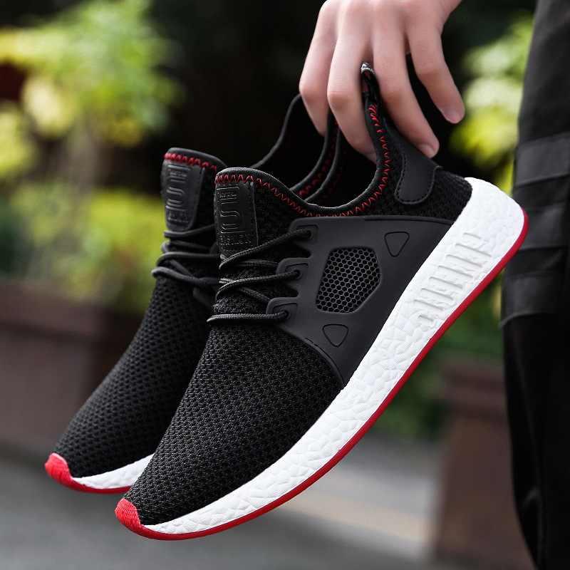 99cff31c7 2018 Fashion Men Shoes Casual Weaving Fly Mesh Breathable Light Soft Black  Slipon Mens Shoe Male