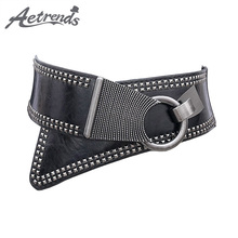[AETRENDS] Fashion Diagonal Cross PU Leather Hip Belt Cummerbunds