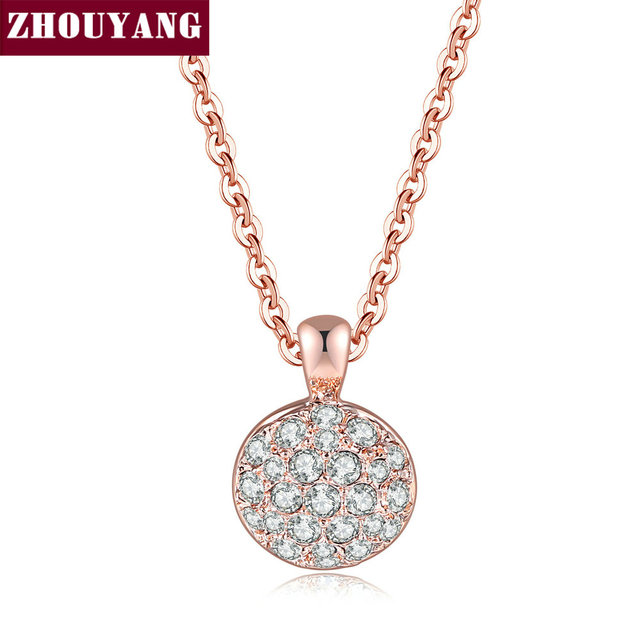 Necklace For Women Classic Simple Style Rose Gold Color Cubic Zirconia Fashion Jewellery Party Birthday Gift N519 ZHOUYANG