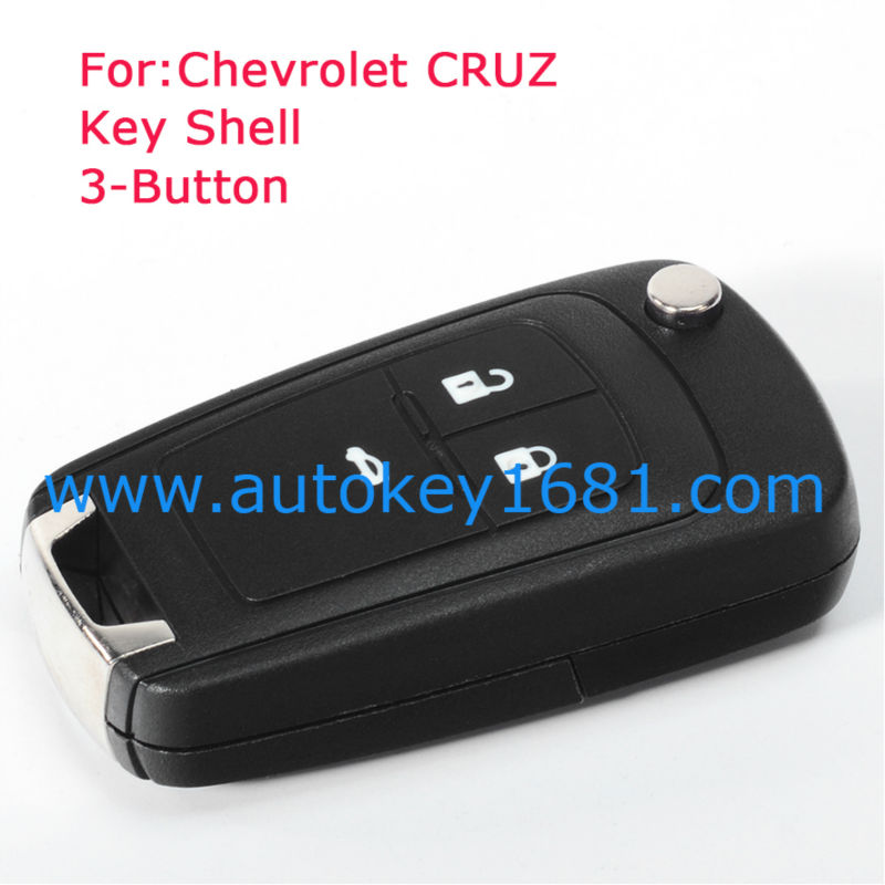 2pcs/lot Fits For CHEVROLET Cruz Remote Key Case Fob Replacement 3 Button Flip Key Shell