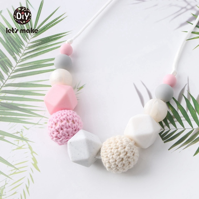 Let's Make Baby Fashion Teething Girl Necklace Pink Silicone Beads DIY Jewelry Handmade Teething Necklace Soother Nurse Necklace
