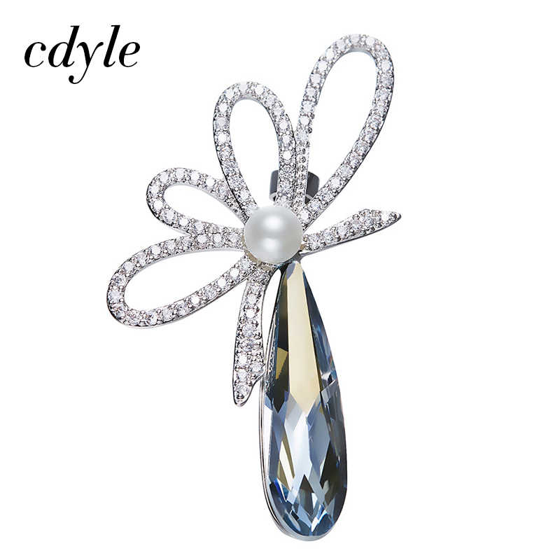 Cdyle Crystals from Swarovski Brooches Women Austrian Rhinestone Fashion  Jewelry Elegant Luxury Simulated Pearl Flower Office 9d5ae1895e81
