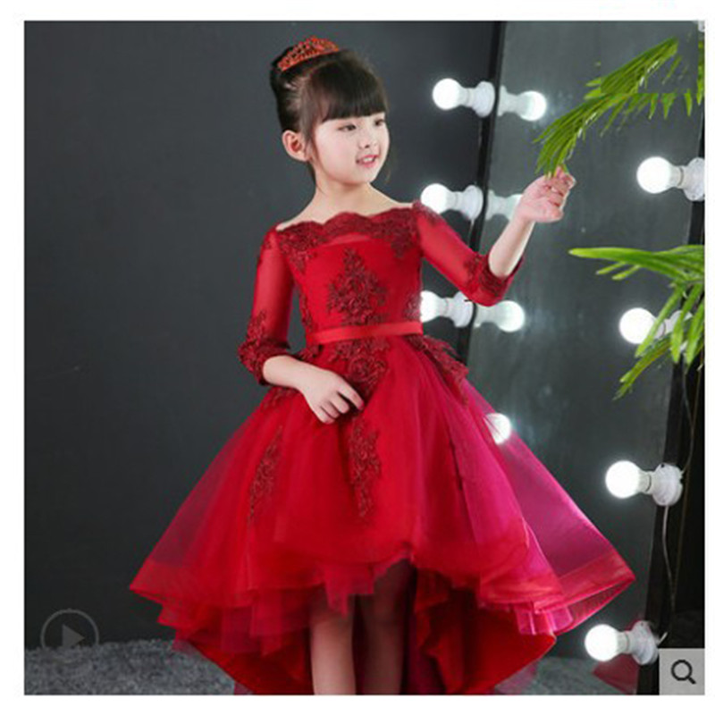 7e82914c34b46 Shoulder Children's Dress Princess Dress Girl Dress Flower Girl Costumes  Catwalk Small Host Evening Dress Autumn for Girls E4