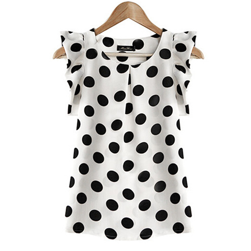 2018 Hot Sales New Summer Womens Ladies Chiffon Blouse Puffed Short Sleeve Dot Print Top Blusa Plus Size XXL Black White