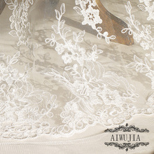 1Yard Elegant Handwork Floral Embroidery Lace Fabric French Fabrics For Wedding Dress New arrival 130X91.4cm