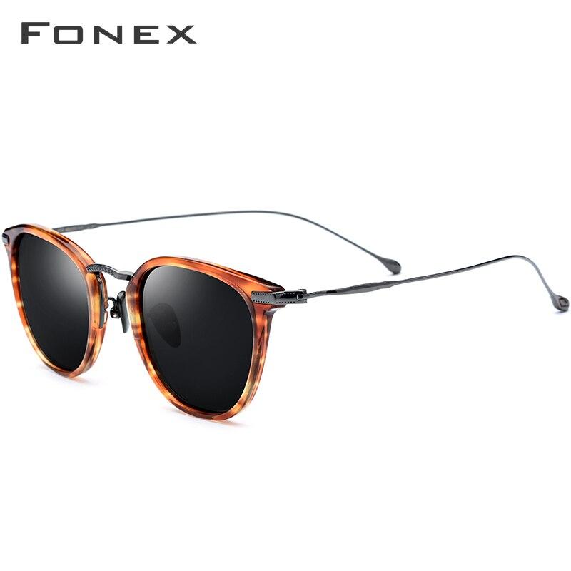 FONEX pur B titane acétate lunettes de soleil polarisées hommes 2019 nouvelle marque de mode Designer Vintage carré lunettes de soleil pour les femmes - 3