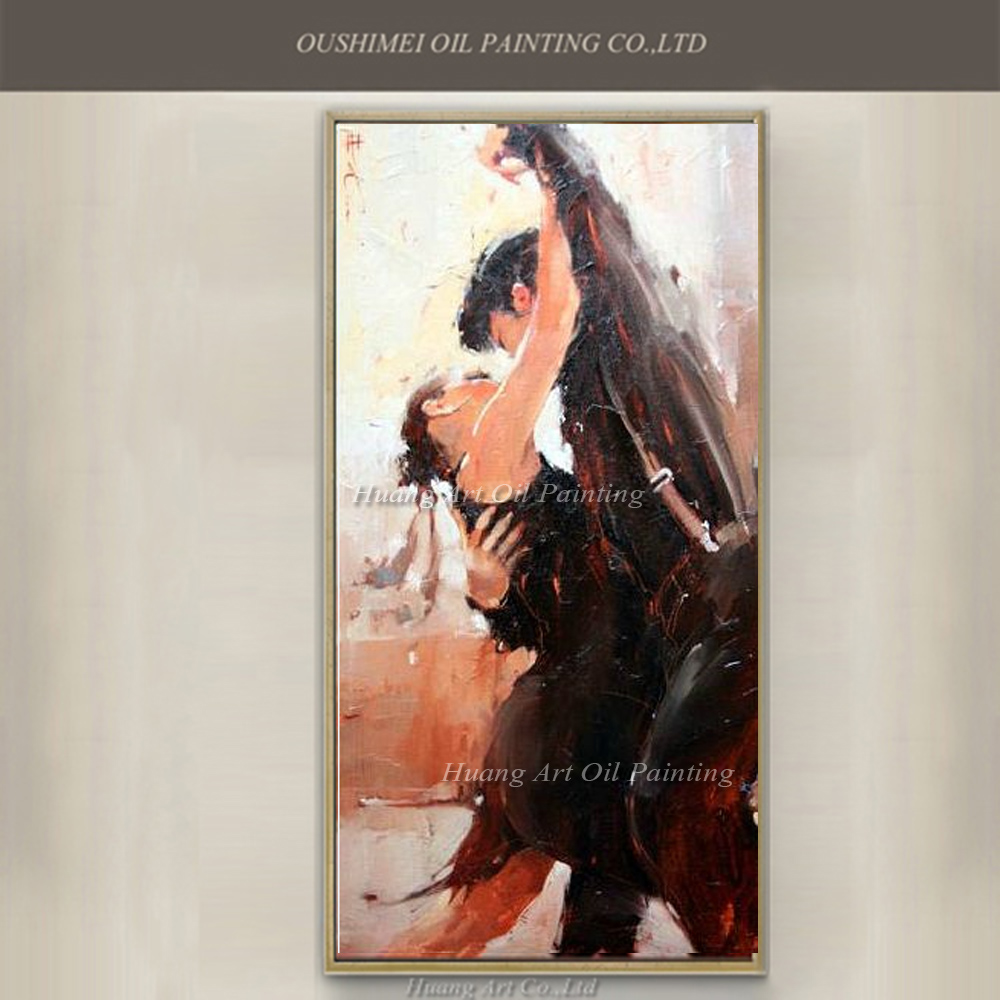 Hand Painted Oil Painting Knife Dancer Painting Modern Tango Figure Wall Painting Impression Picture On Canvas Art