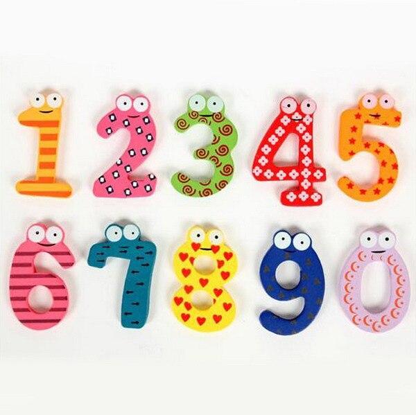 10 Stks/set Leuke 0-9 Numbers Wall Sticker Houten Koelkast Magneet Cartoon Educatief Speelgoed Voor Kids Baby Gift Vb206