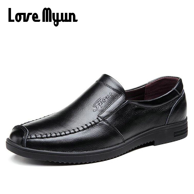 все цены на 2018 New Fashion mens slip on genuine Leather shoes Oxfords soft flats mens shoes casual Middle-aged Loafers Driving Shoes AF-08