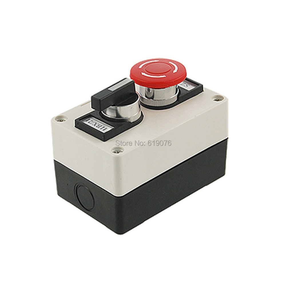 Red Mushroom Emergency Stop 2 Positions Rotary Switch Push Button Station 19mm metal waterproof aluminum push button switch mushroom emergency stop button press button 19mgjt stop l s kb