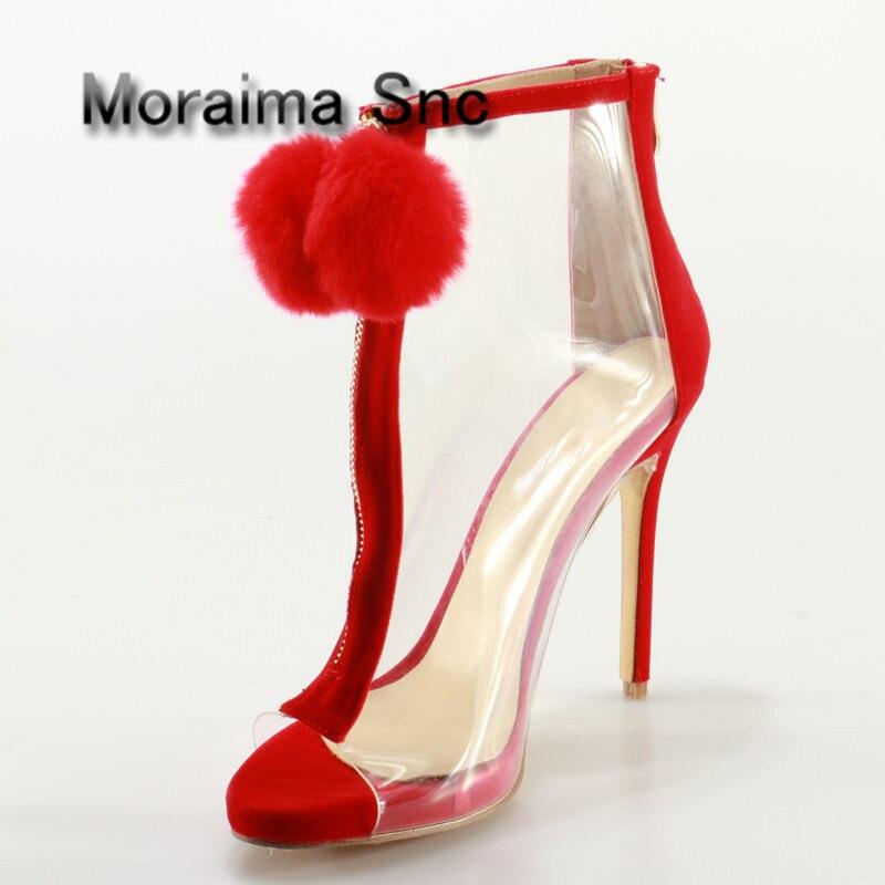 Moraima Snc Shoes Woman Big Size Red Pom Poms Peep Toe Sandals Boots Clear PVC Front Zip Stiletto High Heels Ankle Boots Summer pom pom front zipper design stiletto heels