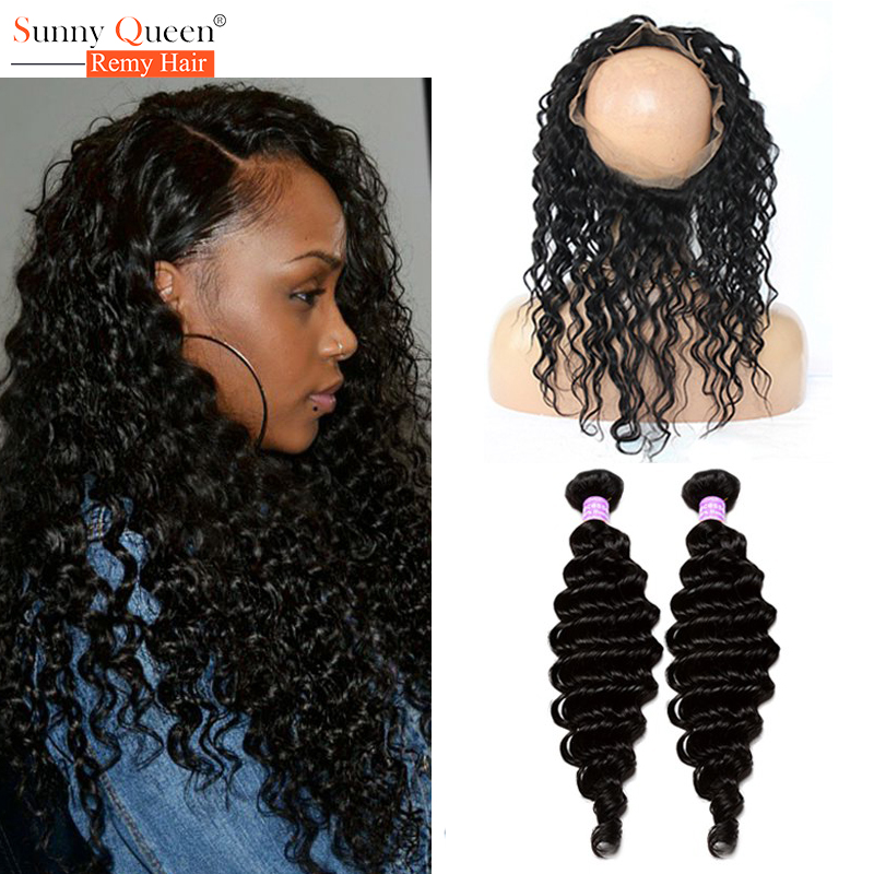 360 Lace Frontal With Bundle Deep Wave Brazilian Virgin Hair With