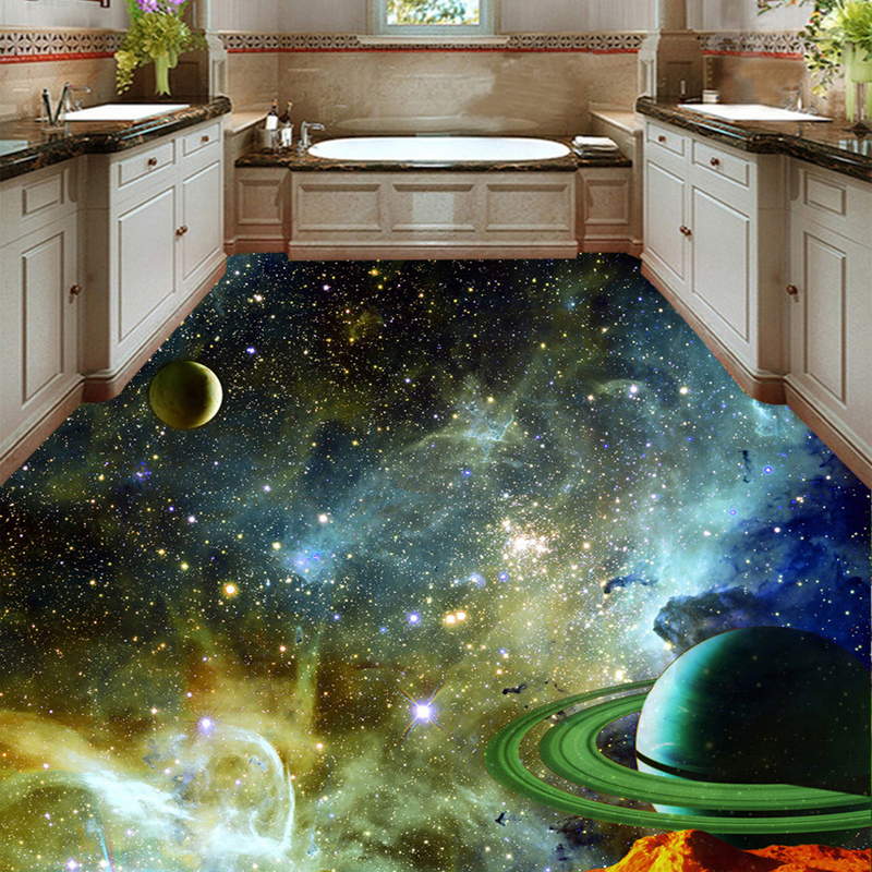 Custom Mural Wallpaper Universe Starry Sky Planet 3d Floor