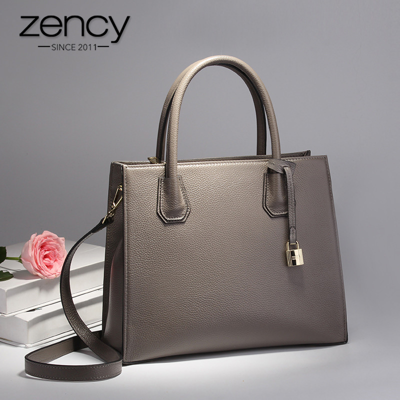 Zency Lock Decoration Lady Tote Bag 100% Genuine Leather Handbag Black Fashion Women Shoulder Bags Bussiness Purse MessengerZency Lock Decoration Lady Tote Bag 100% Genuine Leather Handbag Black Fashion Women Shoulder Bags Bussiness Purse Messenger