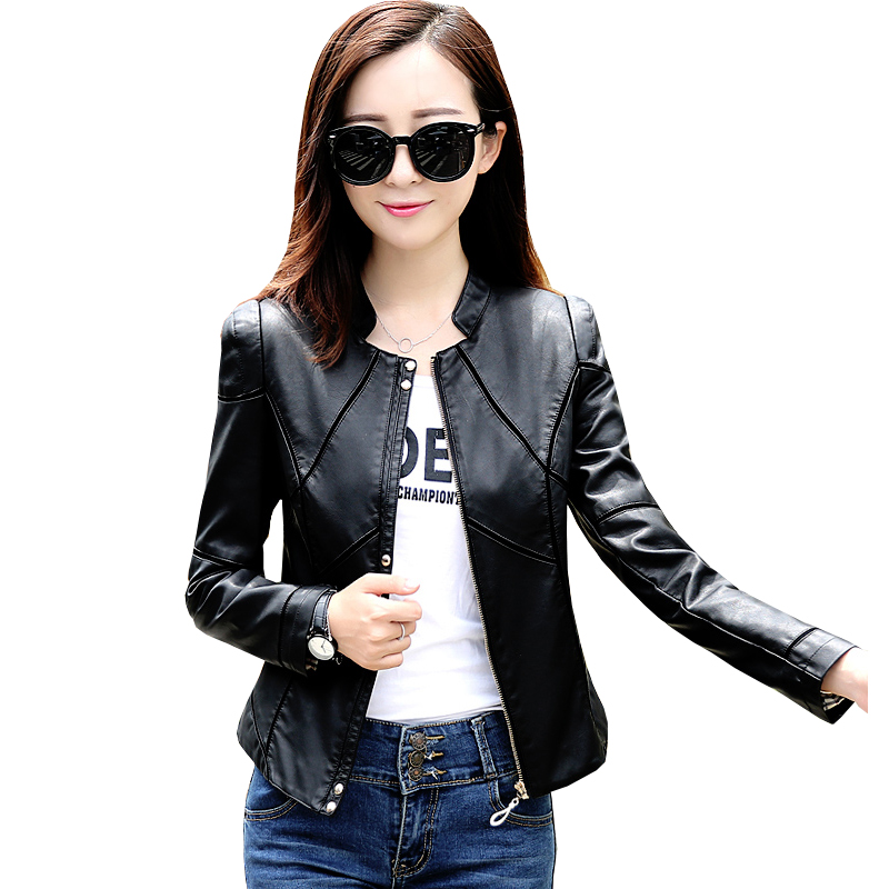 Plus size M-4XL New 2019 Spring   leather   jacket women's   leather   clothing women's short design slim   leather   Women's coat
