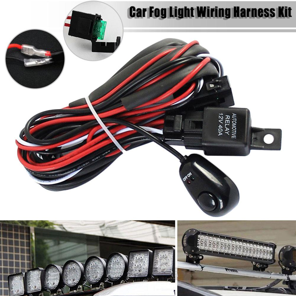 12v 40a Car Fog Light Led Strip Switch Wiring Harness Kit On Kits Off For Hid Lamp Long In Cables Adapters Sockets From