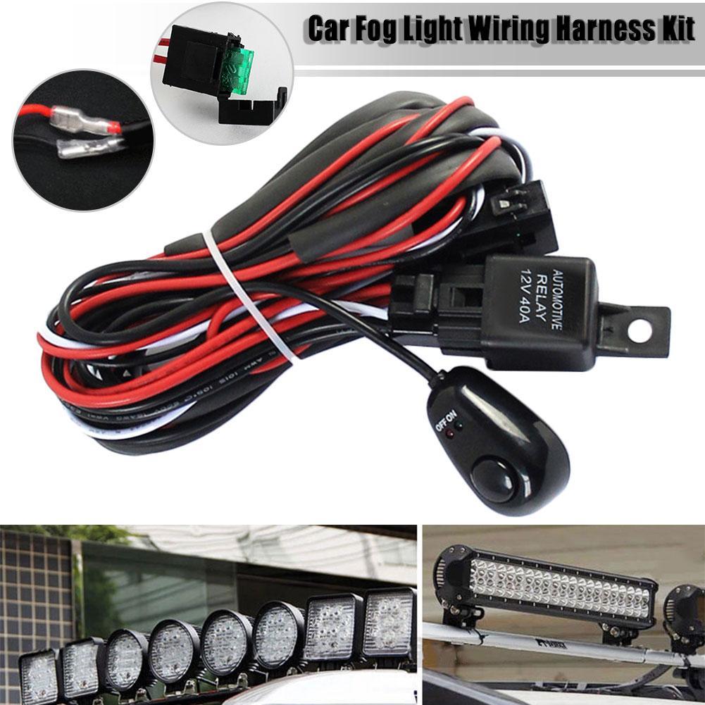 Luz antiniebla de coche de 12V 40 A, tira de luces LED, Kit de arnés de cableado, interruptor de encendido/apagado para lámpara antiniebla HID, lámpara LED, tira larga de luces