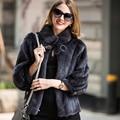 Women Real Mink Fur Winter Coat Fashion Slim Genuine Fur Three Quarter Sleeve Thick Fashion outwear Female natural Fur Jacket