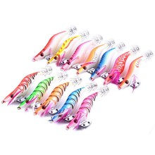 10.8g/8.5cm Hard Lures Fishing Tackle Artificial Wood Shrimp Squid Jigs Jigging Squid Hook Winter Fishing Lure Tackle Squid Lure