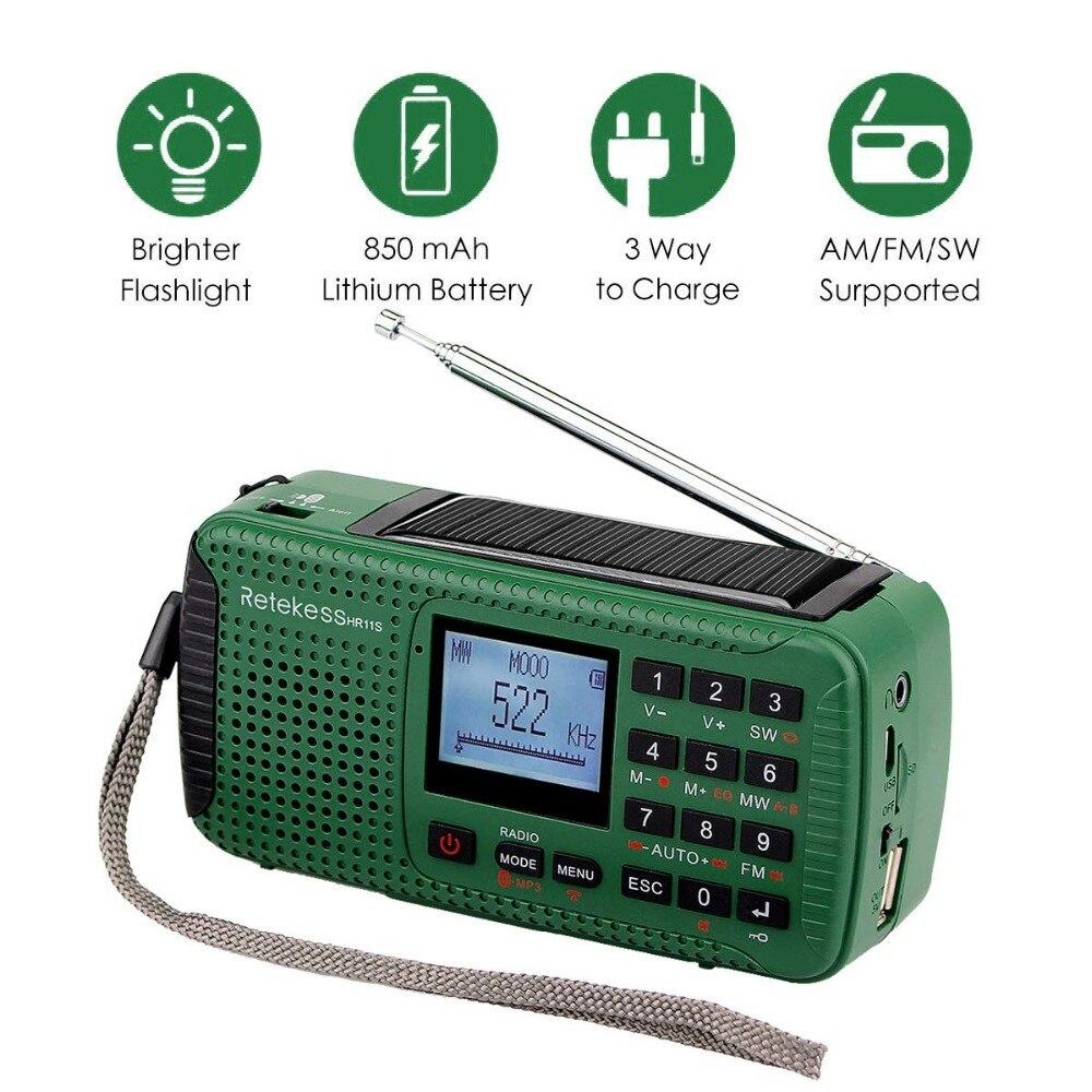 Image 2 - Retekess HR11S Radio durgence manivelle Radio solaire FM/MW/SW  Bluetooth lecteur MP3 enregistreur numérique Portablehand crank solar  radioemergency radiosolar radio