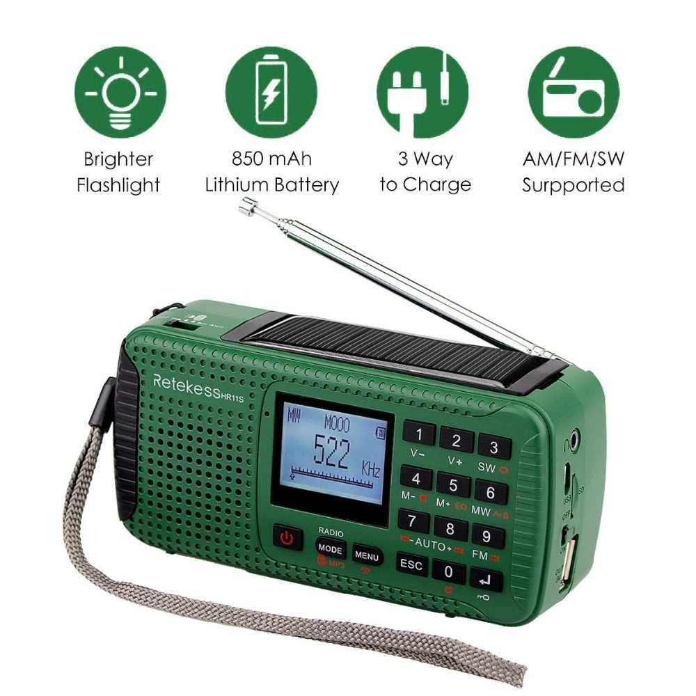 Retekess HR11S acil radyo el krank güneş radyo FM/MW/SW Bluetooth MP3 oyuncu dijital kaydedici taşınabilir