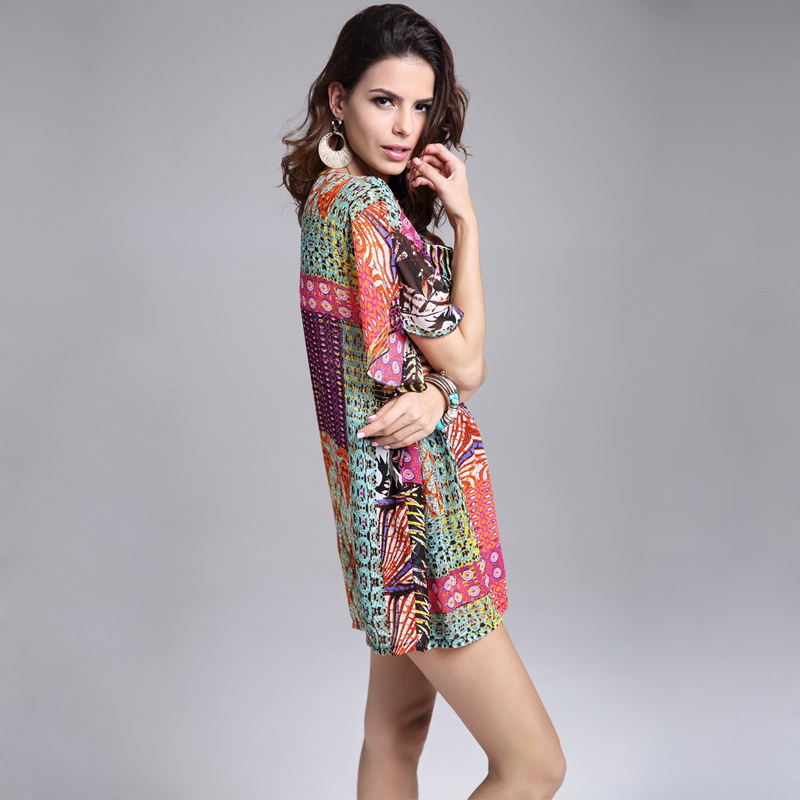 920292218fb35 female vintage bohemian blouse for fat plus size peplum top Embroidered  plaid shirt women chiffon desigual kimono chemise femme-in Blouses   Shirts  from ...