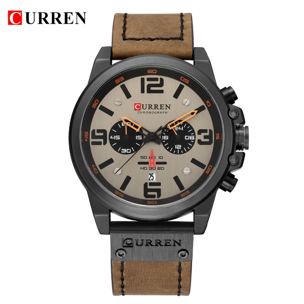HTB1YVl1aBv0gK0jSZKbq6zK2FXar NEW CURREN Mens Watches Top Luxury Brand Waterproof Sport Wrist Watch Chronograph Quartz Military Leather Relogio Masculino