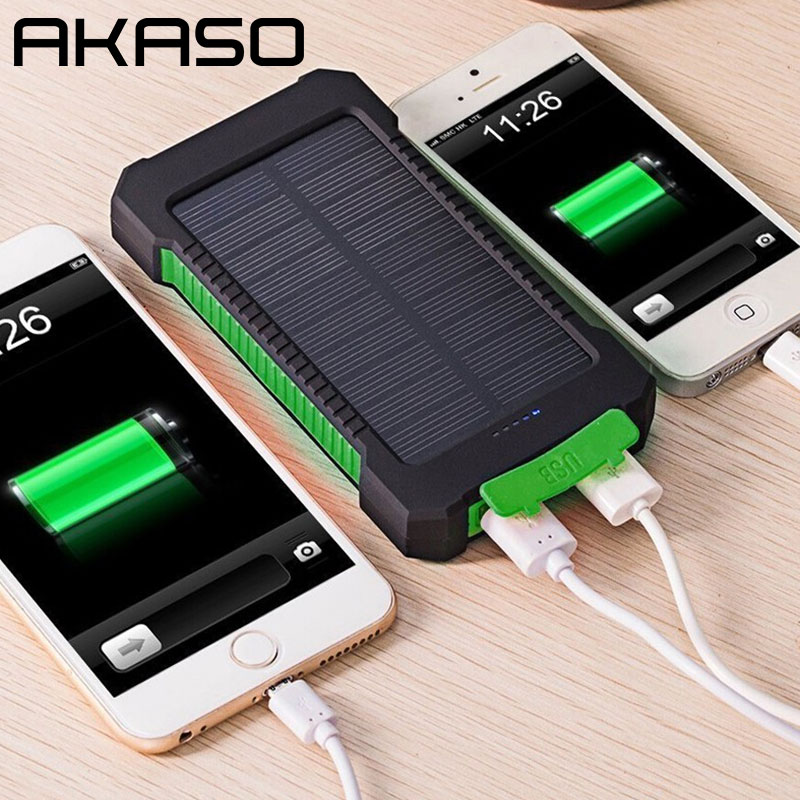 AKASO HOT Waterproof Solar Power Bank 10000mah Dual USB Mobile Solar Charger Waterproof Powerbank for All