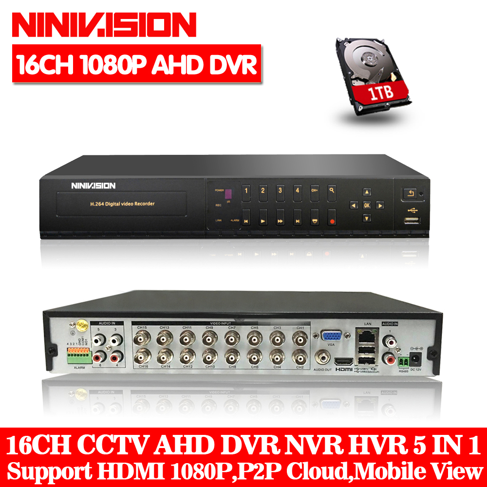 NINIVISION HD CCTV surveillance 16ch AHD 1080P 2.0MP recording security DVR HDMI 1080P 16 channel DVR NVR WIFI video Recorder